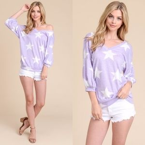 CANDIE Off Shoulder Star Top - ORCHID